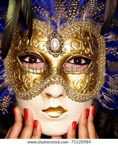 Close up photo of Venetian Mask with nail beauty
