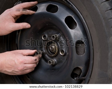 Close up photo of wheel change