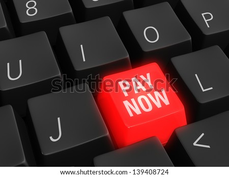 "Close up photo-real illustration of black computer keyboard keys surrounding a single red glowing ""PAY NOW"" key."