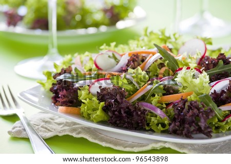 Close up photograph of a tasty mixed salad