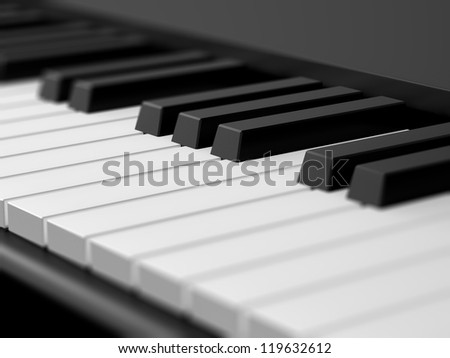 Close up piano keys on black grand piano with depth of field.