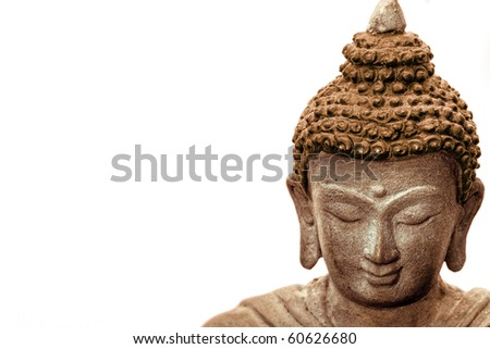 Close-up picture of a Buddha Face in Bronze, from Nepal. #60626680