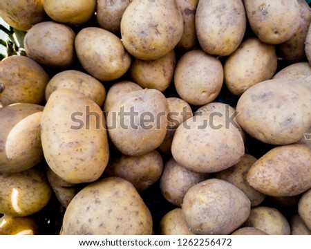 Close up picture of a bunch of potatoes