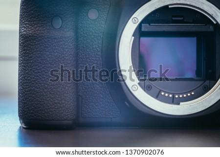 Close up picture of a camera sensor, professional reflex camera