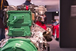 Close up picture of a colored racing car engine, Modena, Italy.