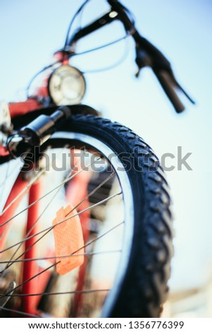 Close up picture of a mountain bike tyre, summer day. Bike in the blurry background.