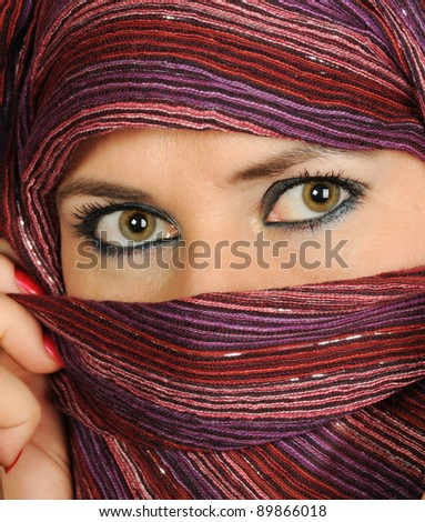 Close up picture of a woman wearing a  veil