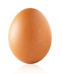 Close up picture of an egg on white background with clipping path, good  texture