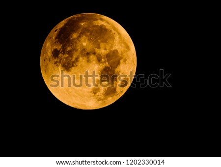 Close up picture of Blood Moon happened in 2018