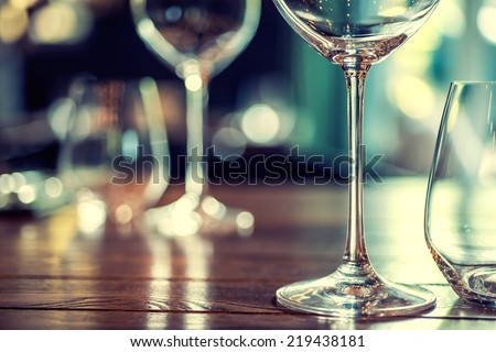 Close up picture of empty glasses in restaurant #219438181