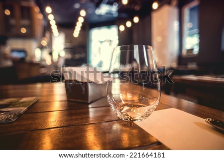 Close up picture of empty glasses in restaurant #221664181