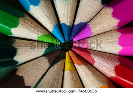 close-up picture of multicolor crayon pencils - background