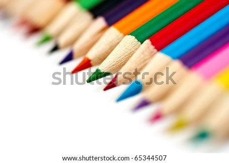 close-up picture of multicolor pencils (very small DOF)