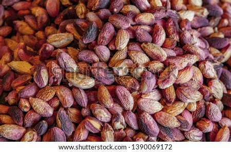 Close up picture of organic peeled and roasted pistachio.
