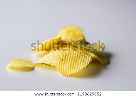 Close up picture of potatato chips on white background