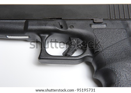 Close up picture of semi automatic 9mm pistol