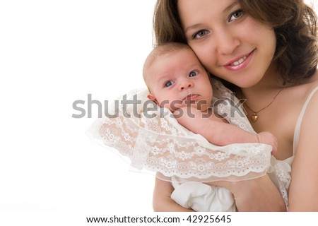 Close-up picture of smiling mother with baby girl
