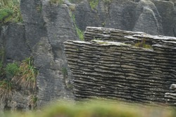 close up picture of the layers of the pancake rocks in new zealand