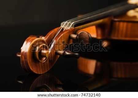 Close-up picture of the old italian violin over black