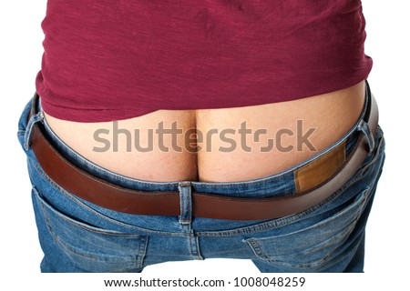 Close up picture of young man's naked ass & back on isolated background
