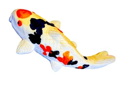 Close-up pictures of fancy carp, bright colors made by ceramics