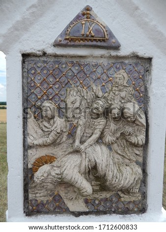 Close-up pictures of the statues of the Stations of the Cross at the christian calvary hill in Szár Stock fotó ©