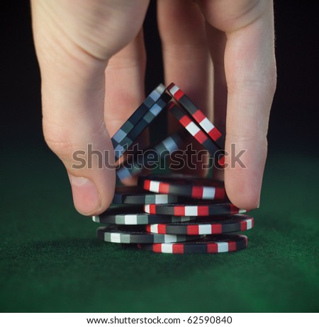 """Close up poker chips trick """"shuffle"""" (soft focus)"""