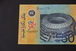 Close up Polymer Money RM50 In conjunction with the XVI Commonwealth Games in Kuala Lumpur, Malaysia. This polymer money was issued in 1998.