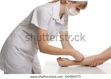 Close up Portrait image of beautiful young female doctor of an injection on white background