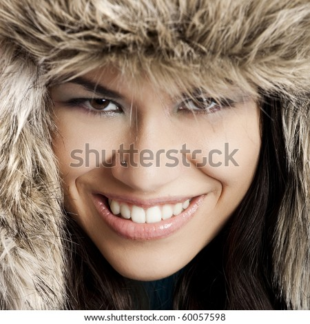 Young Woman Wearing Fur Hat And Coat Stock Image Stock