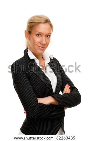 Close up portrait of a beautiful businesswoman isolated on white