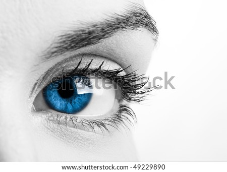 Close-up portrait of a beautiful female blue eye