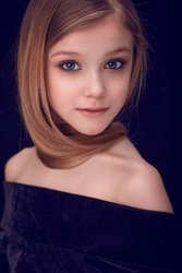 close up portrait of a beautiful girl with long hair, looking into the camera, beauty portrait, attractive, fresh, healthy and clean skin, beautiful eyes, purity