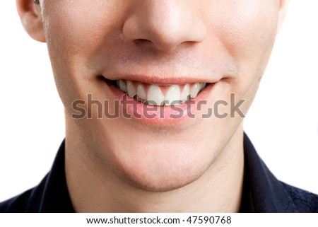 Close-up portrait of a beautiful male smile
