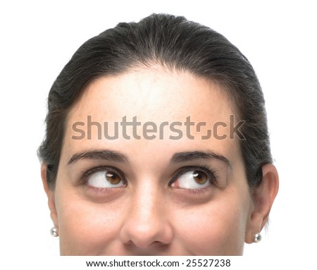 close up portrait of a beautiful mature woman looking up into the corner #25527238