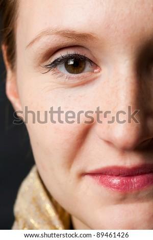 Close-up portrait of a beautiful woman. Studio shot.