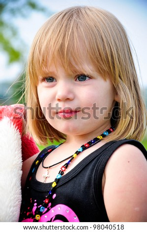 stock photo : Close up portrait of a beautiful 3 year old girl