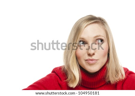 Close-up portrait of a beautiful young woman. Looking up into the corner. Lots of copyspace and room for text on this isolate.