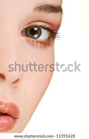 Close-up portrait of a beautiful young woman with a extremely clear skin.