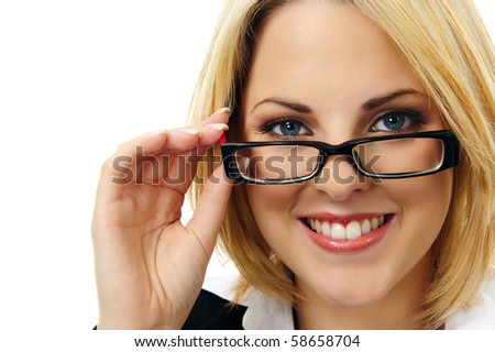 Close-up portrait of a beautiful young woman with spectacles