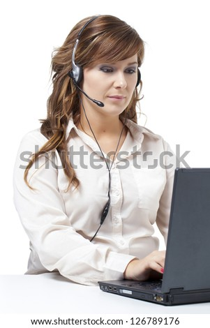 Close up portrait of a busy business woman against white background