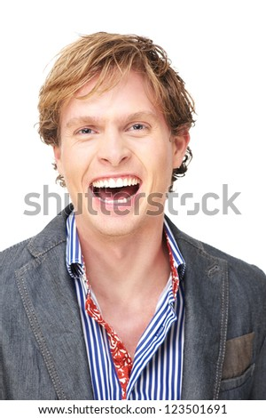 Close up portrait of a Caucasian man with a smile expression on his face. His laughter is infectious. Isolated on white background