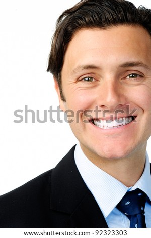 Close up portrait of a charming man in a business suit