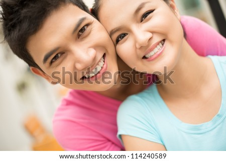 Close up portrait of a couple having good time together