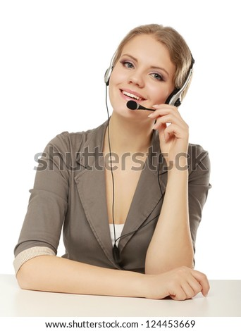 Close-up portrait of a customer service agent, isolated on white background - stock photo