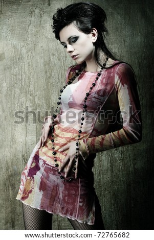 Close-up portrait of a fresh beautiful fashion sexy mod