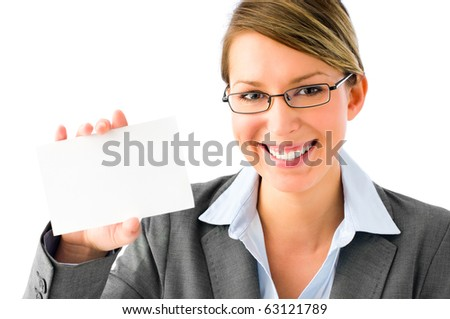 Close-up portrait of a gorgeous blonde business woman holding a white placard