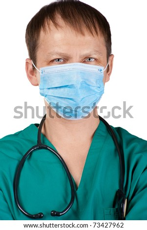 Close-up portrait of a handsome young doctor in surgical mask and stethoscope, isolated on white background