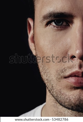 Close-up portrait of a handsome young man