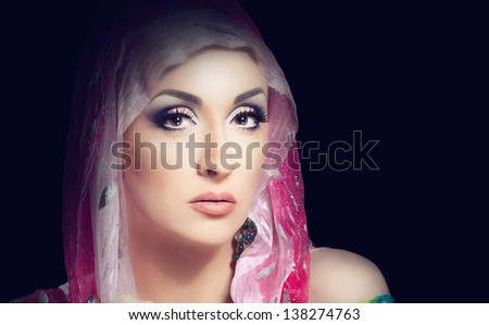 close up portrait of a pretty girl with accessories #138274763